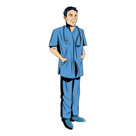 dangerous man: doctor man wearing surgery suit clean vector illustration