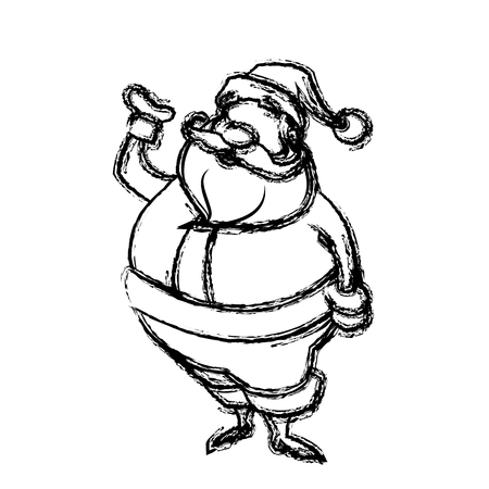greating card: sketch style santa claus. funny cartoon, character, vector illustration.
