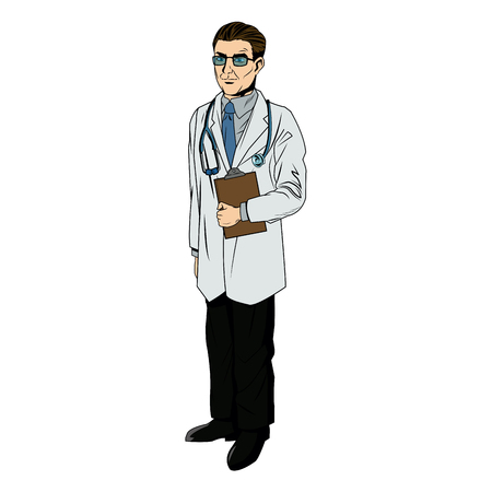 doctor professional holding clipboard and stethoscope vector illustration Illustration