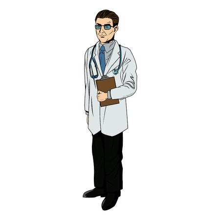 Ilustración de vector de portapapeles y estetoscopio de explotación profesional médico Vectores