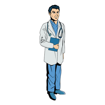 writing instruments: male doctor with lab coat in his office holding a clipboard. vector illustration