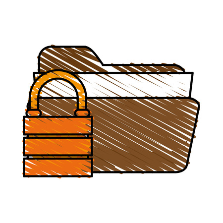 directory: sketch padlock folder icon vector illustration graphic design