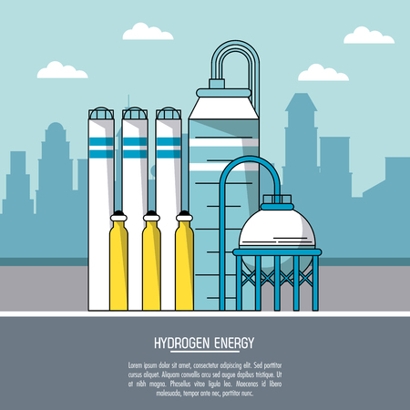 distillation: color city landscape background hydrogen energy production plant vector illustration