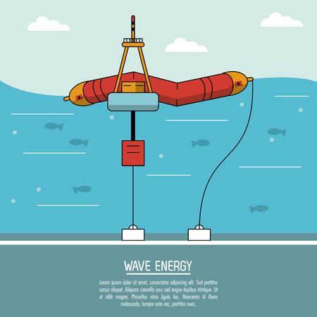 color sea landscape background alternative energy source wave station vector illustration
