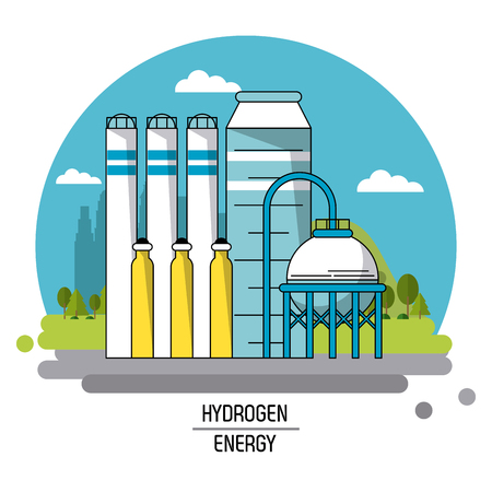distillation: color landscape image hydrogen energy production plant vector illustration