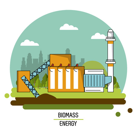 color landscape image biomass energy plant vector illustration