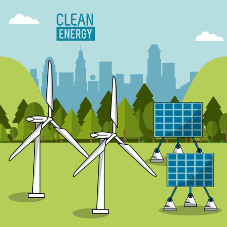 wind mills: color landscape background wind power plant and solar energy panels vector illustration