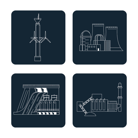 dark blue color sections set with type of renewable energy vector illustration