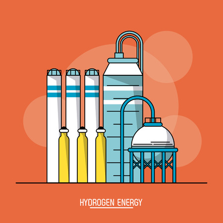 orange color background with bubbles of hydrogen energy production plant vector illustration Illustration