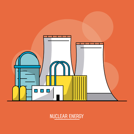 orange color background with bubbles of nuclear energy production plant vector illustration