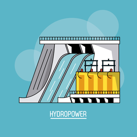 blue color background with bubbles of hydropower plant renewable energy vector illustration