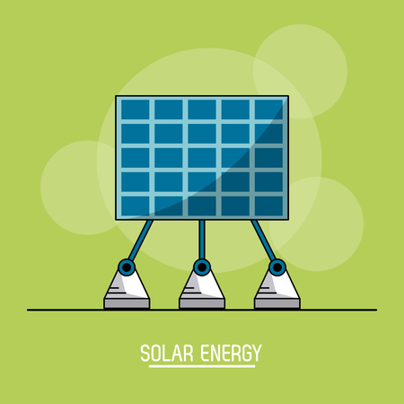 green color background with bubbles of solar energy panel vector illustration Illustration