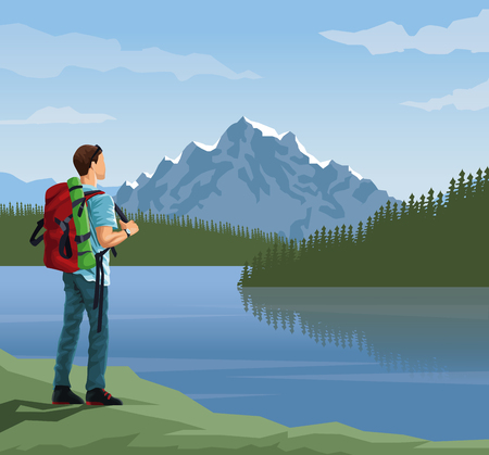 realistic landscape background of far snowy mountains and lake with mountaing climber looking to horizont vector illustration