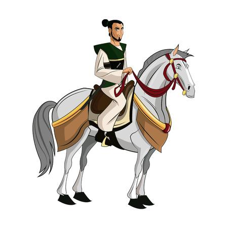 Samurai Warrior with Sword, Riding horse, designed using fire grunge brush graphic vector. Illustration