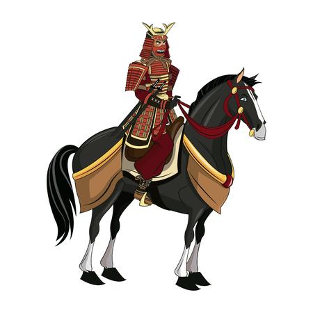warrior samurai with armor traditional riding horse image vector illustration