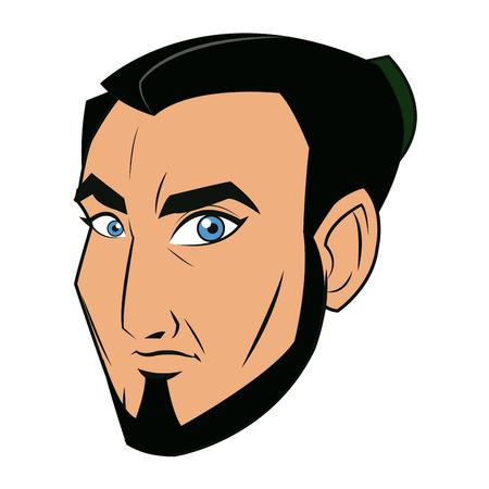 bushido: character face samurai man warrior design vector illustration Illustration