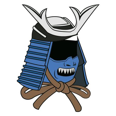 blue mask samurai helmet warrior image vector illustration