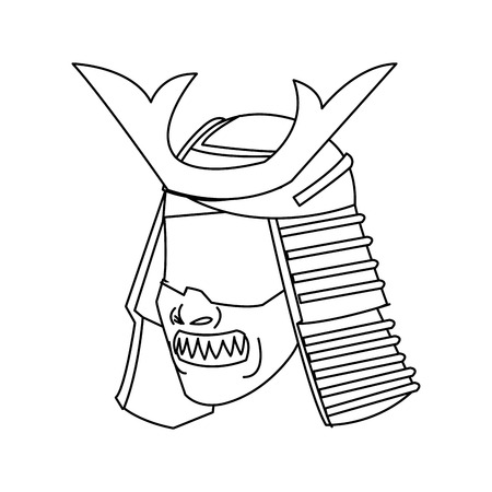mask samurai helmet warrior image outline vector illustration Illustration