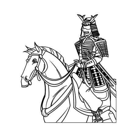 warrior samurai with armor traditional riding horse image vector illustration