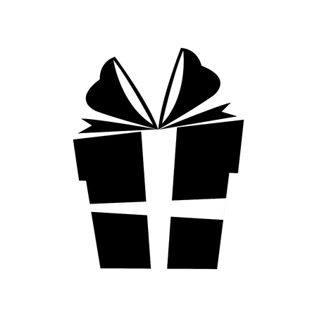 silhouette gift box christmas with bow vector illustration Vettoriali