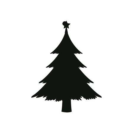 silhouette pine tree with star christmas vector illustration