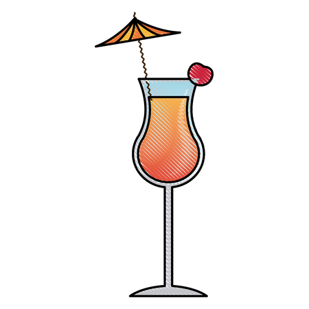 alcohol drink icon. cold cocktail with umbrella in glass. vector illustration Illustration