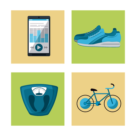 health and fitness: multicolored square buttons set of elements cardio exercises vector illustration Illustration