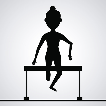 health and fitness: black silhouette faceless athlete woman jumping a fence vector illustration Illustration