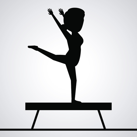 black silhouette faceless woman gymnast on balance beam vector illustration