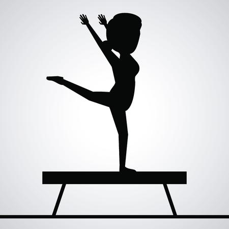 black silhouette faceless woman gymnast on balance beam vector illustration
