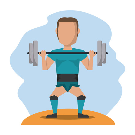 muscular control: color scene with faceless man lifting weights vector illustration
