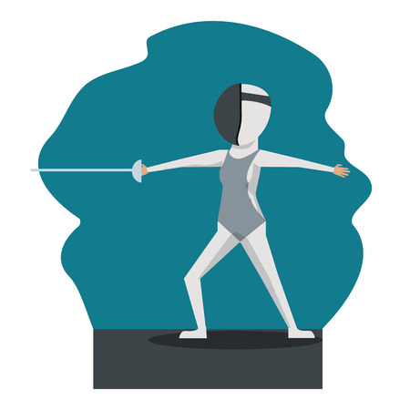 color scene with faceless fencing player vector illustration