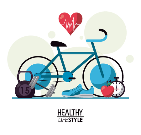white background with bubbles and elements sport healthy lifestyle vector illustration Illustration