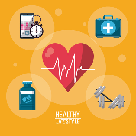 mobile apps: yellow color background with bubbles and heartbeat rhythm with elements sport healthy lifestyle vector illustration