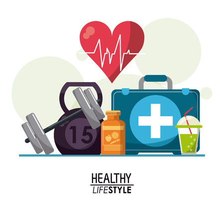 white poster elements with bubbles and heartbeat rhythm with elements sport healthy lifestyle vector illustration Illustration
