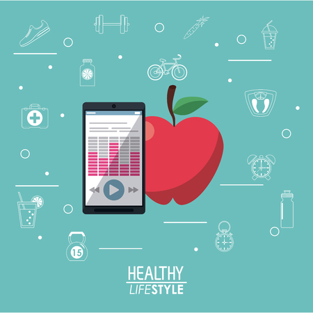 mobile apps: blue background with smartphone with app and apple fruit with silhouette healthy lifestyle elements vector illustration