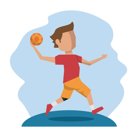 color scene with faceless handball player vector illustration