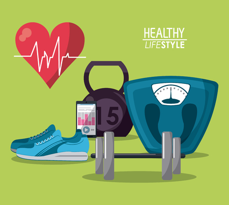 weigh machine: color poster elements sport healthy lifestyle vector illustration