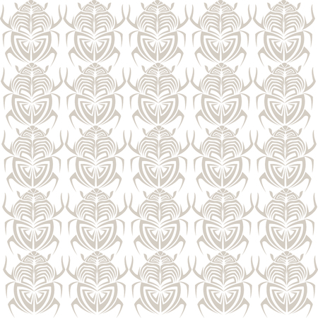 Scarab bug insect tribal tattoo seamless pattern decoration vector illustration