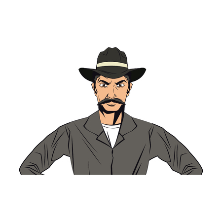 cowboy man cartoon character, modern western cattle hurdlers in traditional cowboy outfit. vector illustration Ilustração