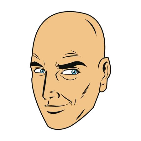 Een komische van de de uitdrukkingpop-art van de gezichtsmens de stijl vectorillustratie. Vector Illustratie