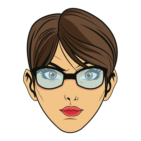 A beauty face woman with glasses and short hair comic style vector illustration. Illustration