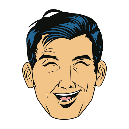 human face: A comic face man expression pop art style vector illustration.