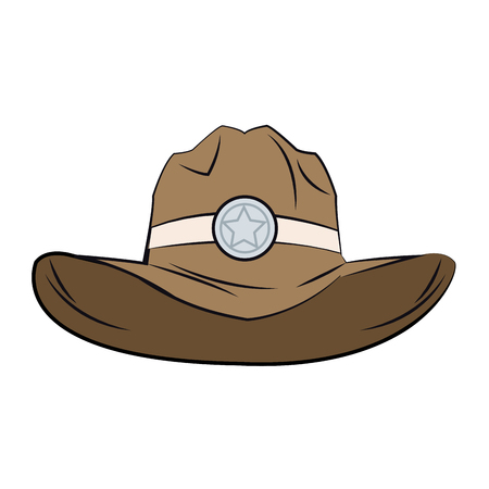 Old western sheriff hat star clothing icon vector illustration.