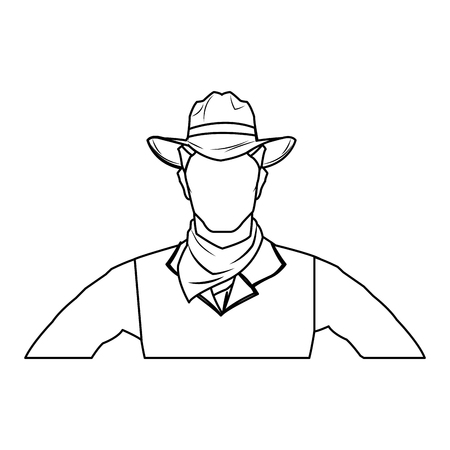 cowboy man cartoon character, modern western cattle hurdlers in traditional cowboy outfit. vector illustration Illustration