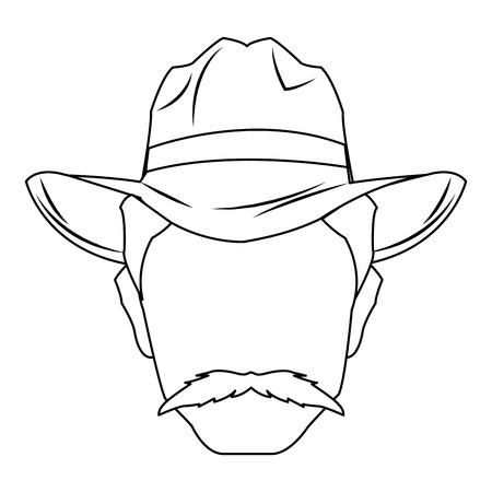 Cowboy man cartoon character, modern western cattle hurdlers in traditional cowboy outfit. Illustration
