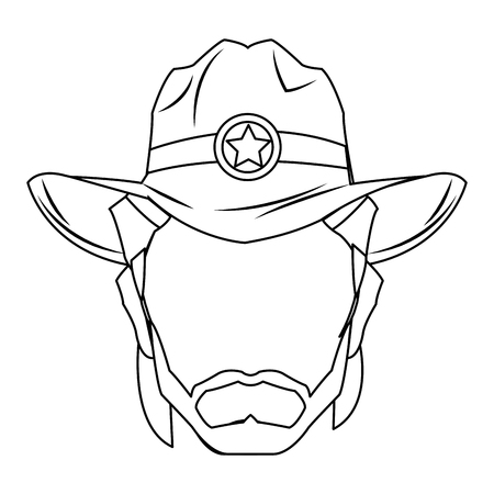 Cowboy man cartoon character, modern western cattle hurdlers in traditional cowboy outfit. Ilustração