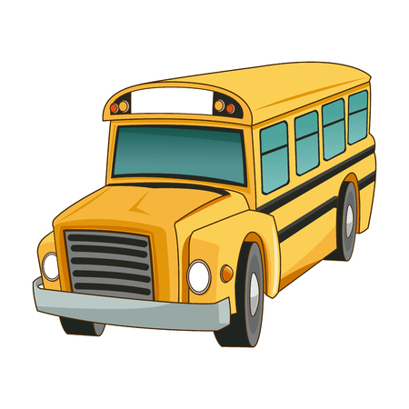 yellow schoolbus: school bus transport truck vehicle cartoon vector illustration