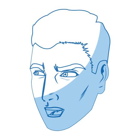 human face: A character man face comic pop art vector illustration. Illustration