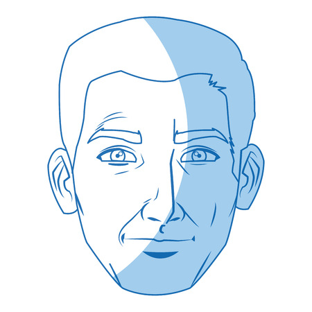 human face: character man face comic pop art vector illustration